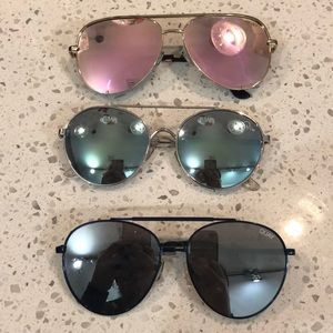 Lot of 3 QUAY mirrored aviator sunglasses